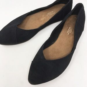 toms | black tutti flats point leather 7.5